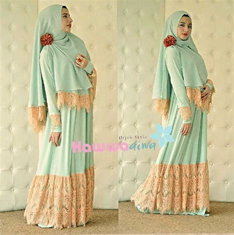 Gamis Muslim Syari Haiwa Aiwa Hijau kd vol 1 hijau mint baju muslim gamis modern
