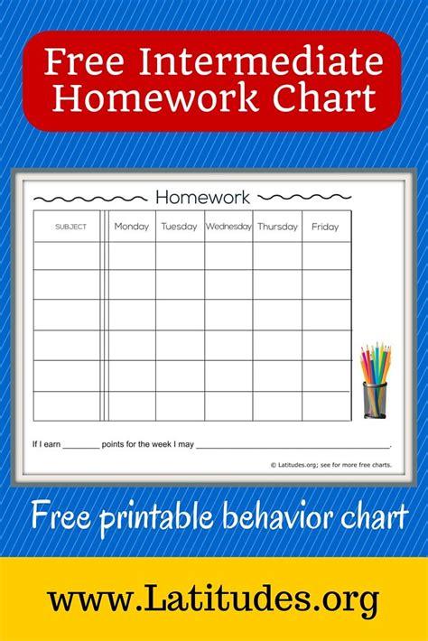 printable behavior graphs free weekly homework chart intermediate free printable