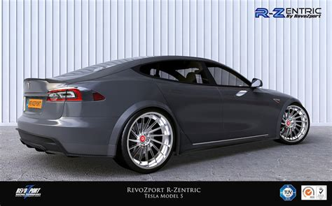 Tesla With Rims Revozport R Zentric Aerokit Developed For Tesla Model S
