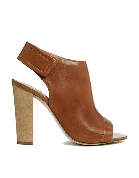 aldo peep toe shoe boots in brown lyst