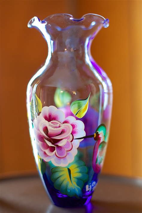 painted glass vase with roses and hummingbirds acrylic