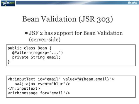 bean validation pattern list ajax applications with jsf2 and new richfaces 4 at jax 2011