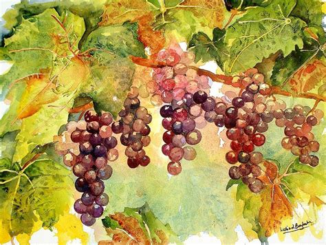 original watercolor and acrylic grapes on the vine painting
