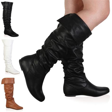 womens new slouchy knee high winter flat