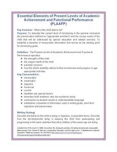 Academic Achievements Essay by Present Levels Of Academic Acheivement And Functional Performance