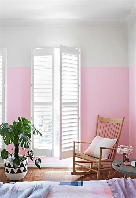 pink half painted wall decor ideas