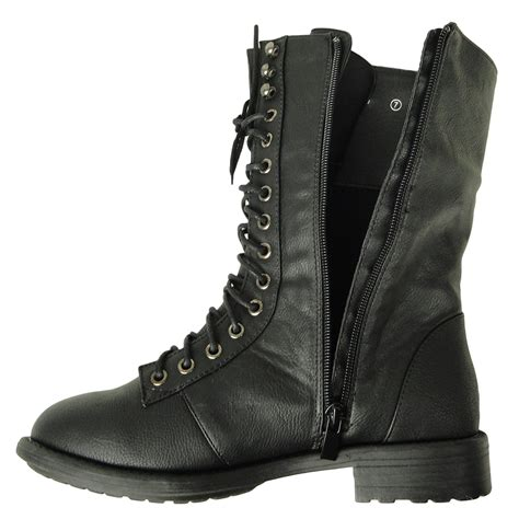 womens black lace up boots womens mid calf casual comfort lace up combat boots us