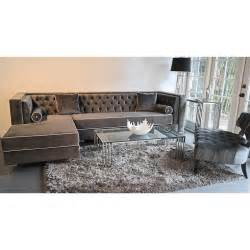 Tufted Sectional Sofa Decenni Custom Furniture Tobias Grey Velvet Tufted Sofa