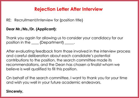 Rejection Letters 20 Free Sles Formats For Hr Rejection Letter Template After
