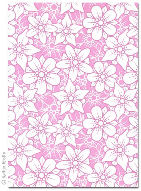 Patterned Craft Paper - a4 patterned card flowers pink and white 1 sheet 163 0