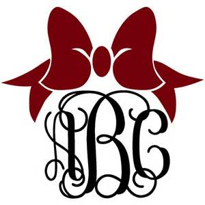 bow monogram bow monogram decal with vine font colors