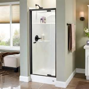 Home Depot Design Your Own Shower Door Delta Lyndall 31 1 2 In X 66 In Semi Framed Pivoting