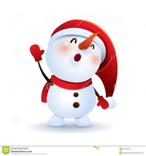 snowman waving hand stock vector image 61446473