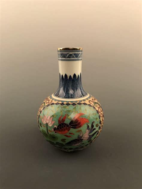 Ming Vase Designs by Cloisonne Vase With Fish Design