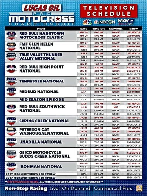 ama outdoor motocross schedule 2017 ama 250 450 national motocross tv schedule