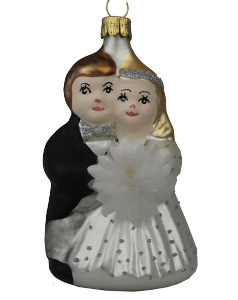 bride groom blown glass ornament garden artisans llc