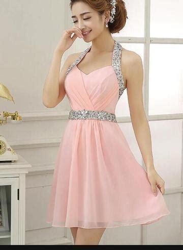 pink sequins simple cute short party dress