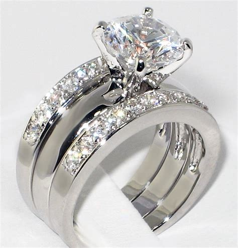 cz solitaire bridal engagement wedding 3 ring