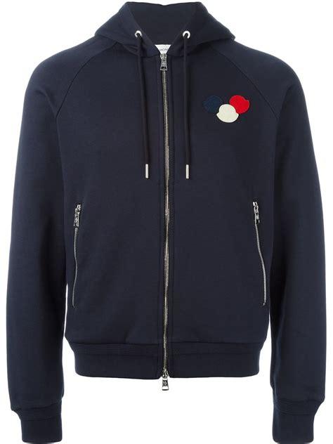 Sweater Zipper U Backfront Logo moncler logo plaque hoodie in blue for lyst