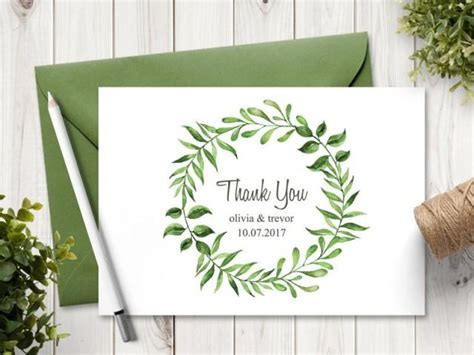 diy wedding thank you cards templates watercolor wreath wedding thank you card template quot lovely