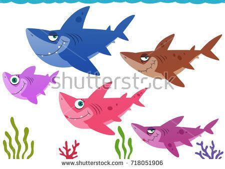 baby shark family baby shark family hunt together stock illustration