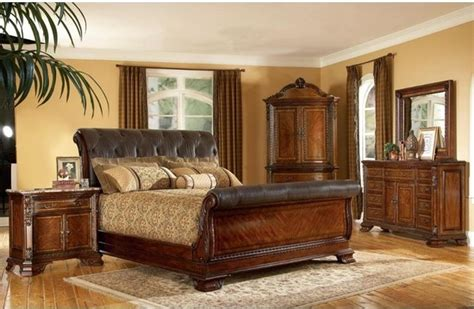 old world bedroom furniture art furniture 5 piece old world leather king size sleigh