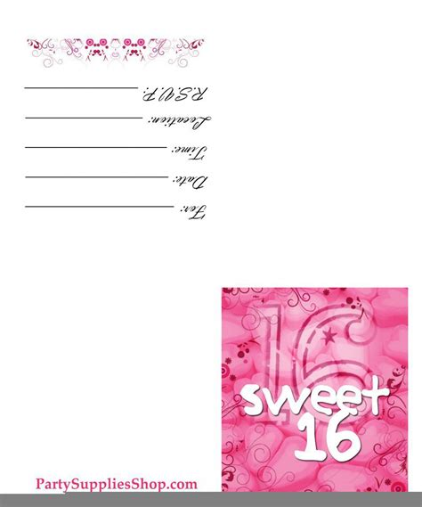 sweet 16 invitation card templates sweet 16 invitation templates free cloudinvitation