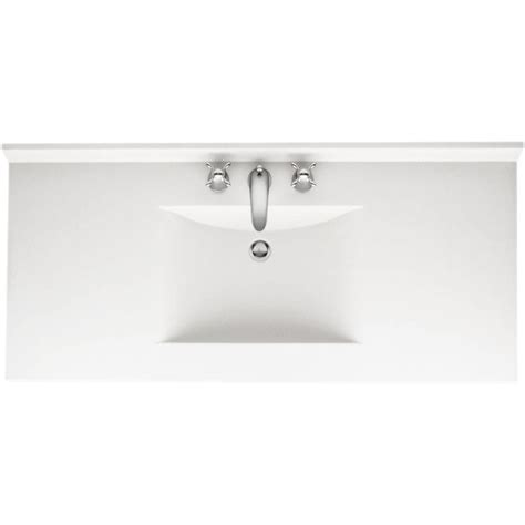 White Vanity Tops by Swan Contour 43 In Solid Surface Vanity Top In White With White Basin Cv2243 010 The Home Depot