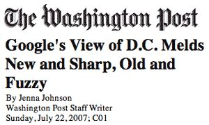 metro section washington post google s view of d c melds new and sharp old and fuzzy