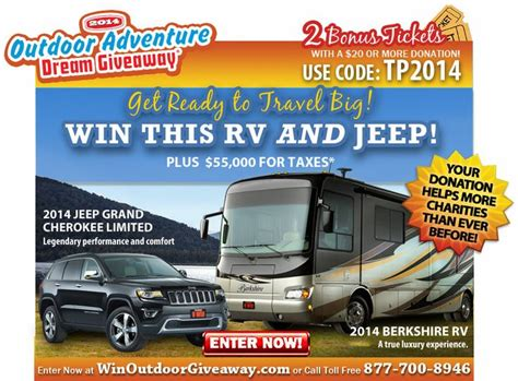 Luxury Rv Giveaway - help charities and enter to win a 39 berkshire luxury rv motorhome and a jeep grand