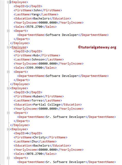 xml tutorial sql sql for xml auto exle 7