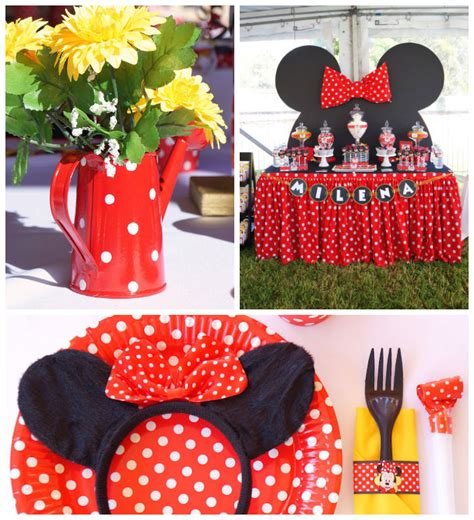 minnie mouse themed birthday decorations kara s ideas minnie mouse themed birthday