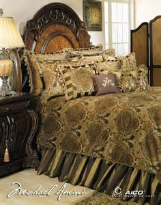 michael amini pontevedra 13 pc king comforter set in olive