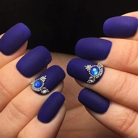 purple matte nail nails with jewels beautify themselves with sweet nails