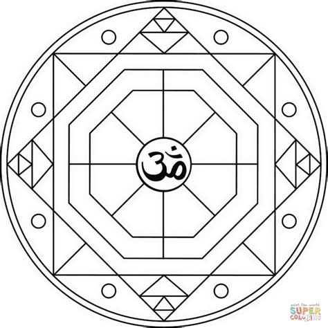om mandala coloring pages geometric mandala with om symbol coloring page free