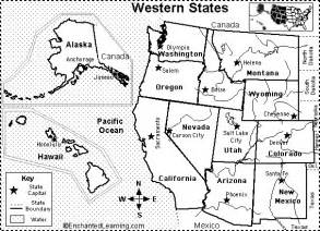 western us states map quiz printout enchantedlearning