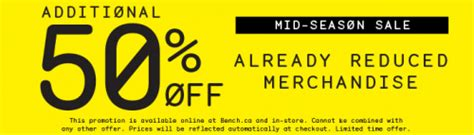 bench canada discount code take an additional 50 off all sale items at bench canada