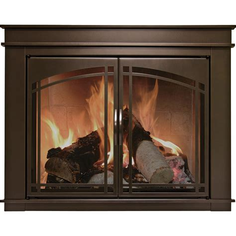 pleasant hearth fenwick fireplace glass door bronze for