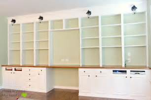 Bookshelves And Desk Built In Remodelaholic Build A Wall To Wall Built In Desk And