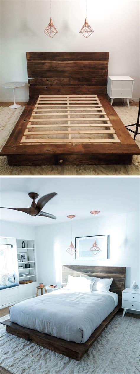 diy reclaimed wood platform bed   bed frame