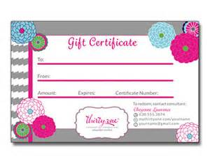 Free In One Certificate Template by Thirty One Consultant Gift Certificate Personalized