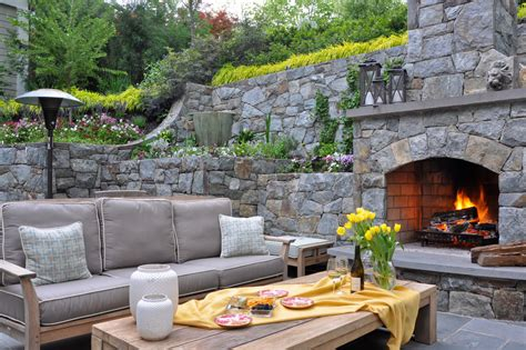Outdoor Fireplace Designs Porch Rustic With Ceiling Fan Outdoor Patio Fireplace Designs