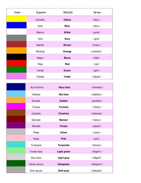 imagenes de colores en ingles y español ingles