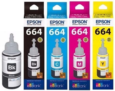 Tinta Epson Original L300 paq 4 tintas epson t664 original l200 l210 l300 l350 l355