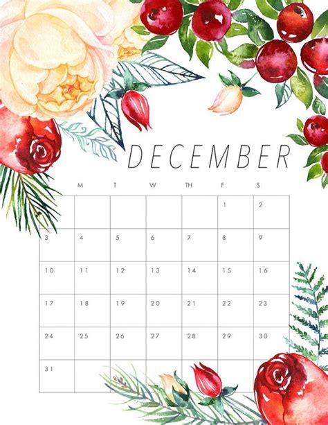 printable december 2017 calendar pinterest free printable 2017 floral calendar december planners