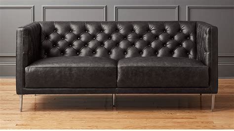 Sofa Apartment by Savile Black Leather Tufted Apartment Sofa Reviews Cb2