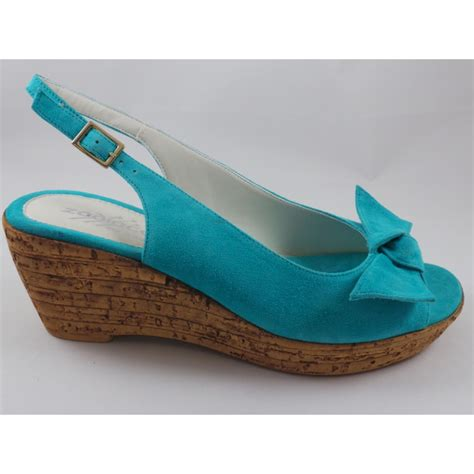 c116 turquoise suede open toe wedge sandal from