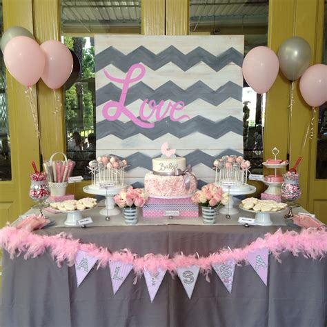 chevron pink grey baby shower carriage rossette cake