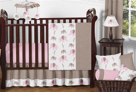 baby girl elephant crib bedding unique discount pink brown mod elephant bumperless baby