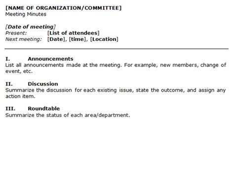 organization meeting minutes template form of minutes for organization meetings